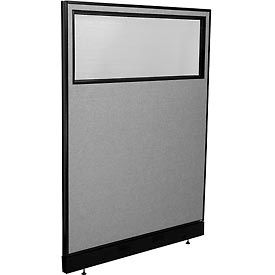 "694692WNGY Office Partition Panel with Partial Window & Raceway, 48-1/4""W x 64""H, Gray"