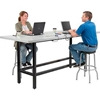 "695433 Standing Height Table with Power - 96""L x 36""W x 42""H - Laminate - Gray"