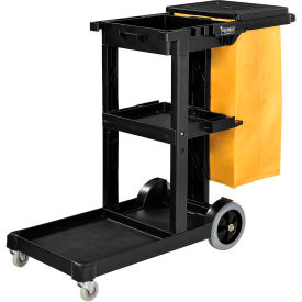 261896 Global; Janitor Cart Black with 25 Gallon Vinyl Bag