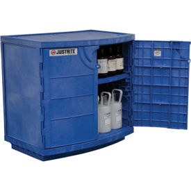 blue poly corrosive/acid cabinet, capacity thirty-six 2-1/2-l bottles, two-door
