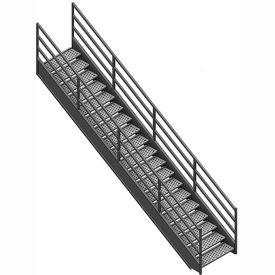 "staircase 3 rail 36""w closed tread and riser Staircase 3 Rail 36""W Closed Tread And Riser"