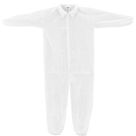 KC-PP-40G-CVL-L-E Disposable Polypropylene Coverall, Elastic Wrists/Ankles, White, Large, 25/Case