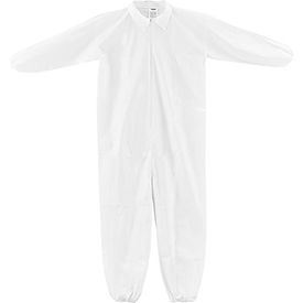 KC-MIC-60G-CVL-L-E Disposable Microporous Coverall, Elastic Wrists/Ankles, White, Large, 25/Case