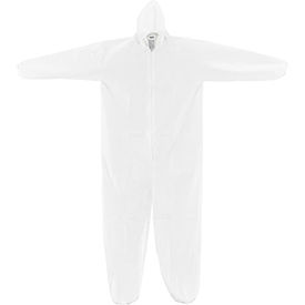 KC-MIC-60G-CVL-L-H Disposable Microporous Coverall, Elastic Wrists/Ankles & Hood, White, Large, 25/Case