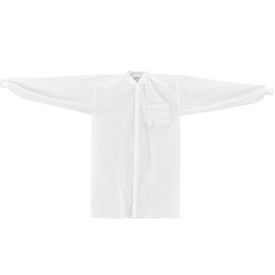 KC-PP-40G-LC-K-S Disposable Polypropylene Lab Coat, 1 Pocket, Knit Wrist & Collar, Snap Closure, Small, 25/Case