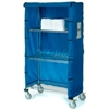"436924 Nexel; Chrome Wire Linen Cart with Nylon Cover, 4 Shelves, 48""L x 24""W x 80""H"