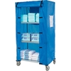 "436938 Nexel; Galvanized Steel Linen Cart with Nylon Cover, 4 Shelves, 36""L x 24""W x 80""H"