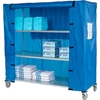 "436941 Nexel; Galvanized Steel Linen Cart with Nylon Cover, 4 Shelves, 60""L x 18""W x 80""H"