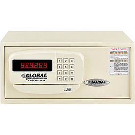 "493383A Global Personal Hotel Safe Electronic Lock w/Card Slot 15""W x 10""D x 7""H Keyed Alike, White"