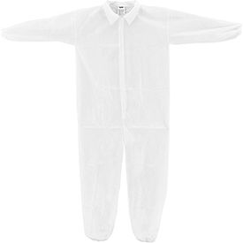 KC-PP-40G-CVL-3XL-E Disposable Polypropylene Coverall, Elastic Wrists/Ankles, White, 3X-Large, 25/Case