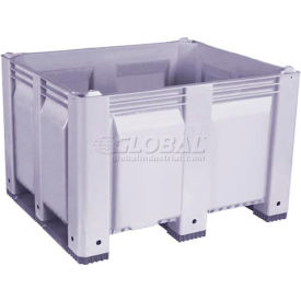 decade m40sgy3 pallet container solid wall 48x40x31 short side runners gray 1500 lb capacity Decade M40SGY3 Pallet Container Solid Wall 48x40x31 Short Side Runners Gray 1500 Lb Capacity