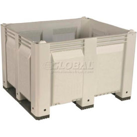 decade m40swh3 pallet container solid wall 48x40x31 short side runners white 1500 lb capacity Decade M40SWH3 Pallet Container Solid Wall 48x40x31 Short Side Runners White 1500 Lb Capacity