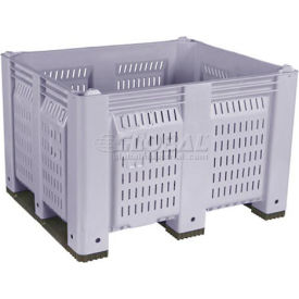 decade m40pgy3 pallet container vented wall 48x40x31 short side runners gray 1500 lb capacity Decade M40PGY3 Pallet Container Vented Wall 48x40x31 Short Side Runners Gray 1500 Lb Capacity
