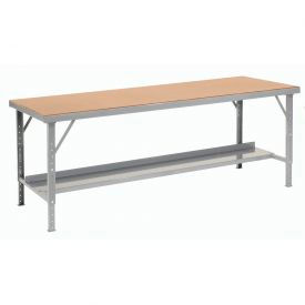 "606774 120""W x 48""D Heavy-Duty Extra Long Hardboard Folding Assembly Workbench - Gray"