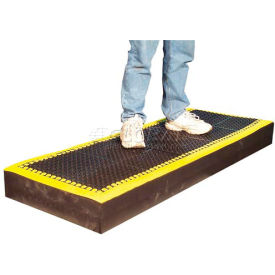 "M38784 7/8"" Thick Anti Fatigue Mat - Black with Yellow Border  36X96"