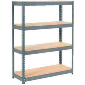 "255678 Extra Heavy Duty Shelving 48""W x 18""D x 72""H With 4 Shelves, Wood Deck"