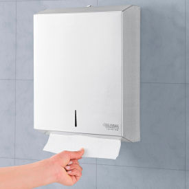 MC-8955 Global Industrial; Stainless Steel C-Fold/Multifold Towel Dispenser - 400 C-Fold/525 Multifold