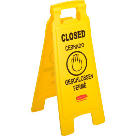 FG611278YEL Rubbermaid; 6112-78 Floor Sign 2 Sided Multi-Lingual - Closed
