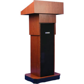 W505A-MH Executive Adjustable non-sound Column Podium / Lectern - Mahogany