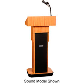 W505A-OK Executive Adjustable non-sound Column Podium / Lectern - Light Oak