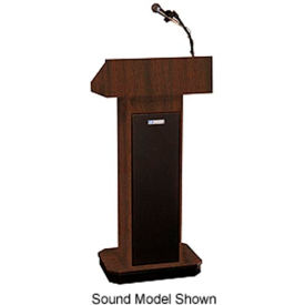 W505A-WT Executive Adjustable non-sound Column Podium / Lectern - Walnut