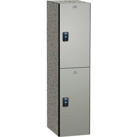 "ASI Storage Double Tier 2 Door Traditional Phenolic Locker, 12""Wx15""Dx30""H, Dove Gray, Assembled"