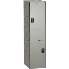"ASI Storage Double Tier 2 Door Traditional Phenolic Locker, 12""Wx15""Dx72""H, Weathered Ash, Assembled"
