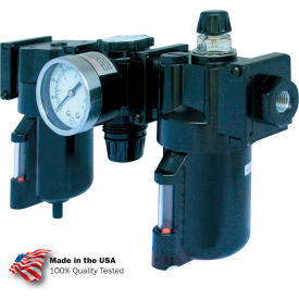 "C33354 Arrow 1/2"" Modular FRL W/End Ports C33354, Gauge, Poly Bowl, Manual & Arrow Fog Lubricator"
