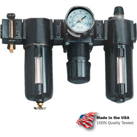 "VC33354 Arrow 1/2"" Modular FRL W/End Ports VC33354, Gauge, Poly Bowl, Manual & Arrow Fog LUBR, OSHA Valve"