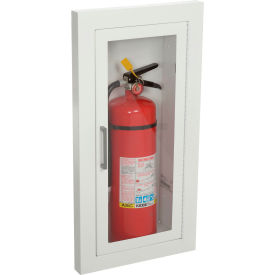 "1816F10 Fire Extinguisher Cabinet, Full Acrylic Window, Semi-Recessed 5.5""D, Steel, 1.5"" Square"