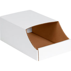 "BINB712 7"" x 12"" x 4-1/2"" Stackable White Corrugated Bin Box - BINB712"