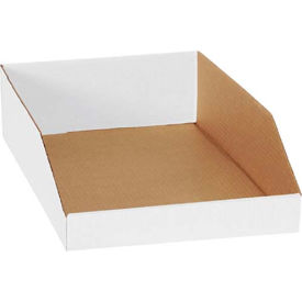 "BINEB1812 12"" x 18"" x 4-1/2"" Open Top White Corrugated Bin Box"