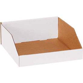 "BINMT121214 12"" x 12"" x 4-1/2"" Open Top White Corrugated Bin Box"