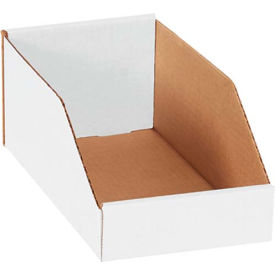 "BINMT612 6"" x 12"" x 4-1/2"" Open Top White Corrugated Bin Box"