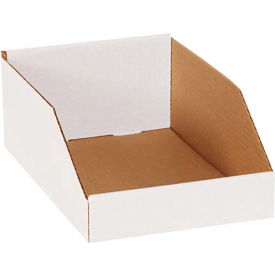 "BINMT812 8"" x 12"" x 4-1/2"" Open Top White Corrugated Bin Box"