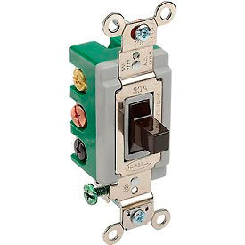 3025BRN Bryant 3025BRN Toggle Switch, Double Pole, Double Throw, 30A, 120/277V AC, Brown
