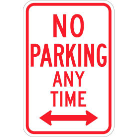 "brady® 113303 no parking any time sign, white/red, aluminum, 12""w x 18""h Brady® 113303 No Parking Any Time Sign, White/Red, Aluminum, 12""W x 18""H"