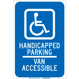 "brady® 90018 handicapped parking van accessible sign, blue/white, aluminum, 12""w x 18""h Brady® 90018 Handicapped Parking Van Accessible Sign, Blue/White, Aluminum, 12""W x 18""H"