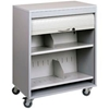 5424-32 Sandusky Buddy Locking HIPAA Medical Cart with Tambour Door, Platinum
