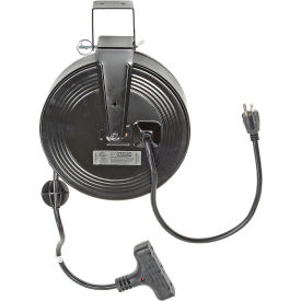SL-801 Bayco; SL-801 Triple Tap Extension Cord, Retractable Reel, 30L Cord, 14/3 GA, BLK