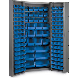 "DC-BDLP-132-5295G Bin Cabinet Deep Door with 132 Blue Bins, 16 Ga. All-Welded Cabinet 36""W x 24""D x 72""H, Gray"