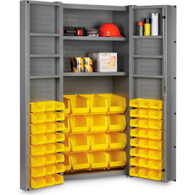 "DC36-642S6DS-95G Bin Cabinet Deep Door with 64 Yellow Bins, 16 Ga. All-Welded Cabinet 36""W x 24""D x 72""H, Gray"