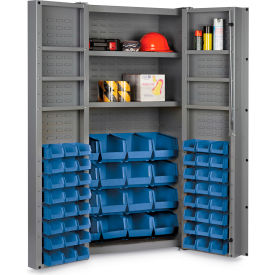 "DC36-642S6DS-5295G Bin Cabinet Deep Door with 64 Blue Bins, 16 Ga. All-Welded Cabinet 36""W x 24""D x 72""H, Gray"