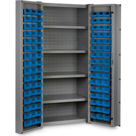 "DC-DLP-96-4S-5295G Bin Cabinet Deep Door with 96 Blue Bins, 16 Ga. All-Welded Cabinet 36""W x 24""D x 72""H, Gray"
