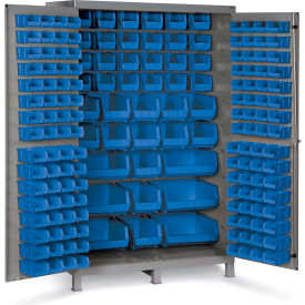 "JC-171-5295G Bin Cabinet Flush Door with 171 Blue Bins, 16 Ga. All-Welded Cabinet 48""W x 24""D x 78""H, Gray"