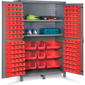 "JC-137-3S-1795G Bin Cabinet Flush Door with 137 Red Bins, 16 Ga. All-Welded Cabinet 48""W x 24""D x 78""H, Gray"