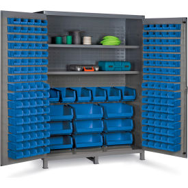 "SSC-185-3S-5295G Bin Cabinet Flush Door with 185 Blue Bins, 16 Ga. All-Welded Cabinet 60""W x 24""D x 84""H, Gray"