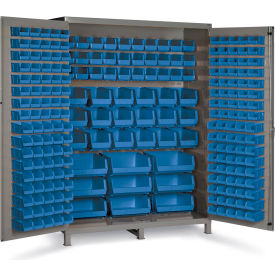 "SSC-227-5295G Bin Cabinet Flush Door with 227 Blue Bins, 16 Ga. All-Welded Cabinet 60""W x 24""D x 84""H, Gray"