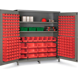 "SSC-722484-BDLP2123S1795G Bin Cabinet Flush Door with 212 Red Bins, 16 Ga. All-Welded Cabinet 72""W x 24""D x 84""H, Gray"