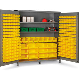 "SSC-722484-BDLP212-3S-95G Bin Cabinet Flush Door with 212 Yellow Bins, 16 Ga. All-Welded Cabinet 72""W x 24""D x 84""H, Gray"